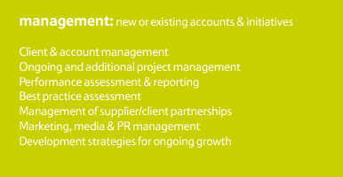 MANAGEMENT: New or existing accounts/initiatives